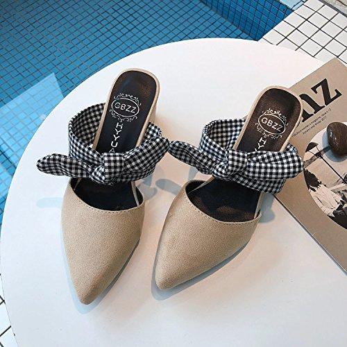 Aire Expuestos Al El La Y Alto Blanco Audaces Soltar Cool Pajarita Zapatos GAOLIM Tacón Verano Con Zapatillas Con Arrastrar Libre Y Señaló De Primavera AwqYUntnX