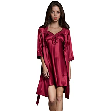 SUNBABY Women Sexy Silk Satin Robe Camisole Pajama Dress 2 Piece Suit  Sleepwear Best Gift for Girls 04b314203