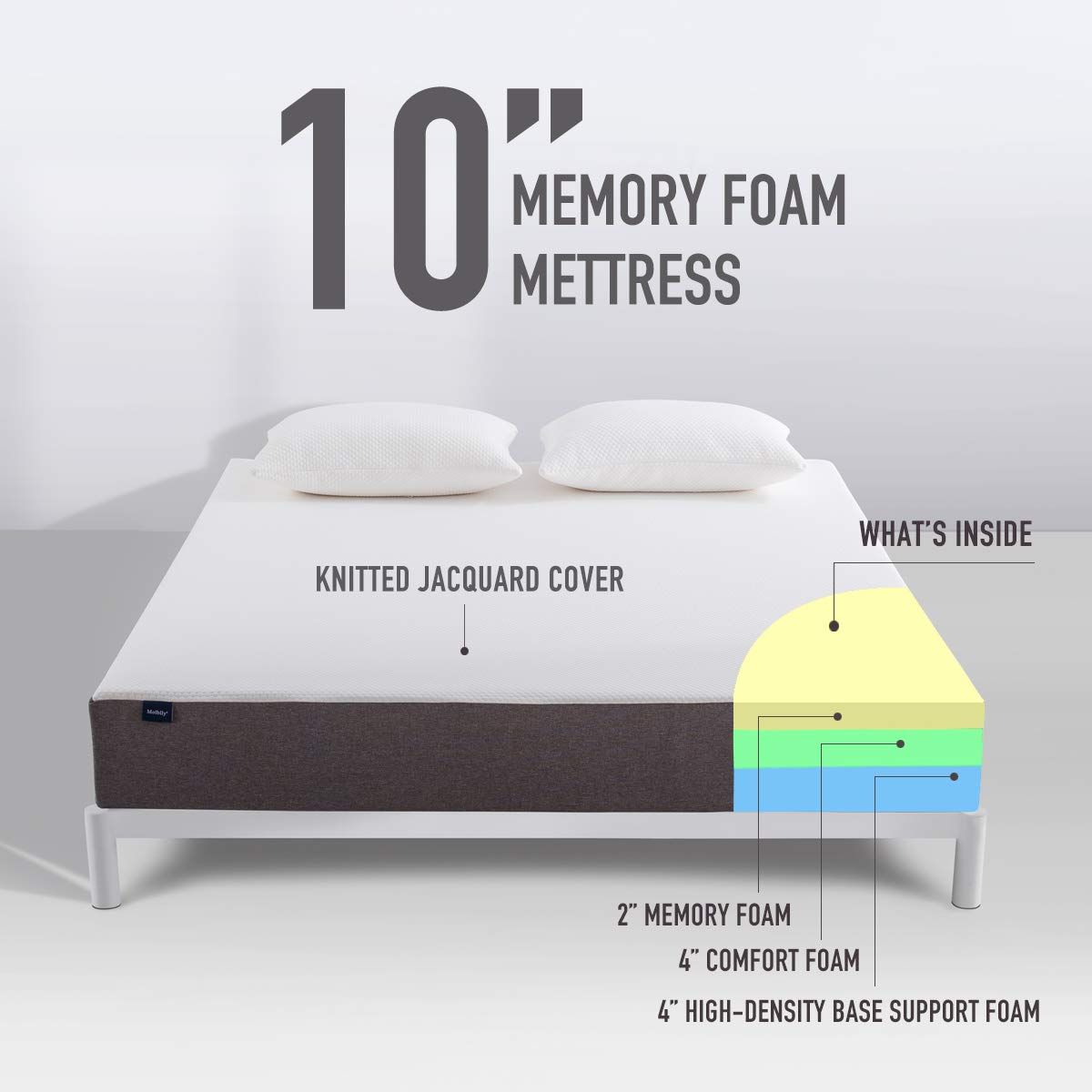 Queen Mattress, Molblly 10 Inch Memory Foam Mattress in a Box, Breathable Bed Mattress with CertiPUR-US Certified Foam for Sleep Supportive & Pressure Relief, 10-Year Warranty, Queen Size by Molblly (Image #4)