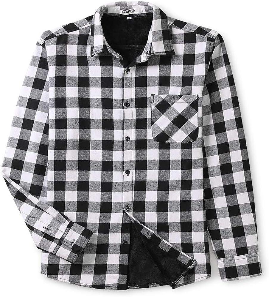 Aeslech Mens Long Sleeve Plaid Fleeced Shirt Tops