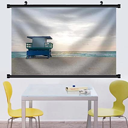 amazon com gzhihine wall scroll empty beach with lifeguard cabin at