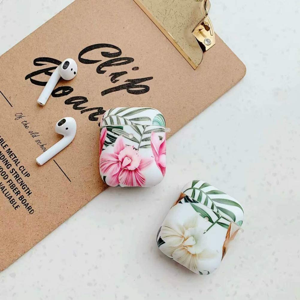 AirPods Case Front LED Visible Floral Soft Shockproof Silicone Case for Girls Women Compatible with Apple AirPods 2 and 1 Charging Case-White Flower Doowear Airpods Protective Cover Case Skin