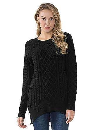 Lynz Pure Women s Cable Knit Sweater Crewneck Split High Low Pullover Tops Black  S 30845d38c