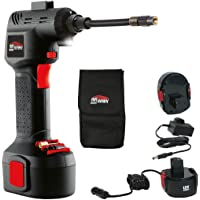 Air Hawk Pro Car Tyre Inflator - Handheld Electric Compressor, Digital Pressure Gauge - Includes LCD Display, LED Light, Pin Attachments & Car Adapter