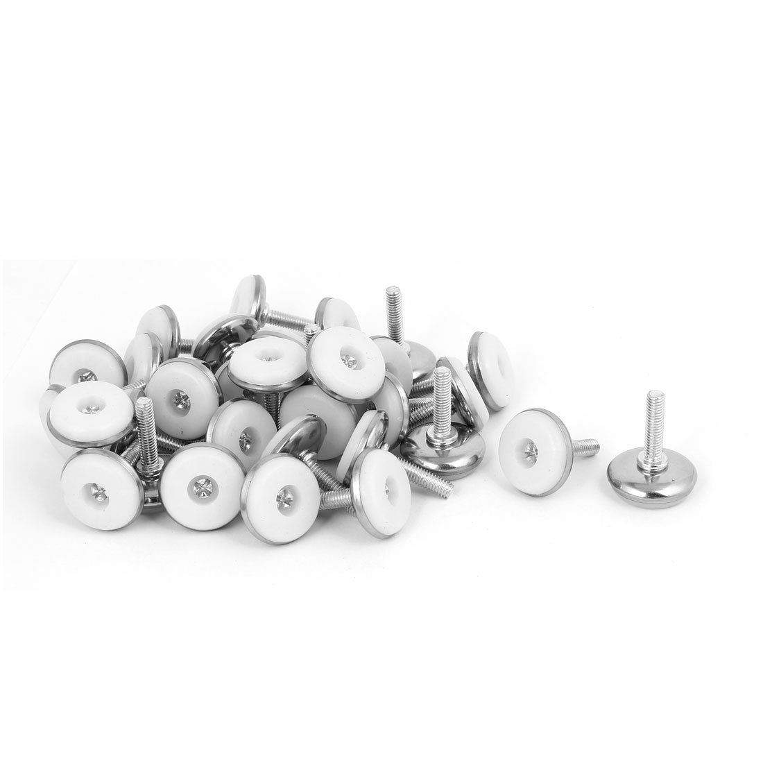 uxcell M6x25mm Plastic Base Adjustable Leveling Glide Foot 30pcs for Cabinet Table Leg