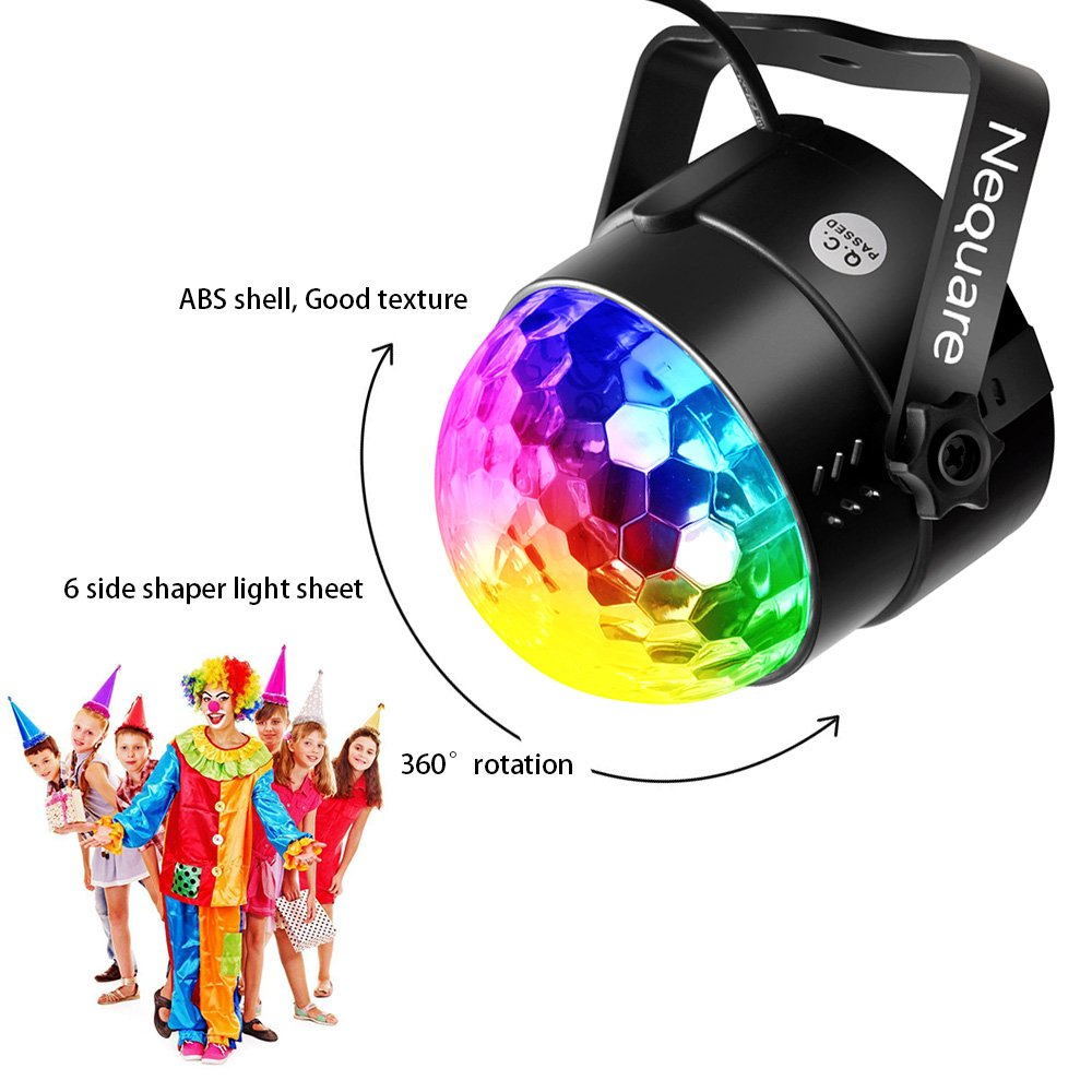 Nequare Party Lights Sound Activated Disco Ball Strobe Light 7 Lighting Color Disco Lights with Remote Control for Bar Club Party DJ Karaoke Wedding Show and Outdoor by Nequare (Image #3)