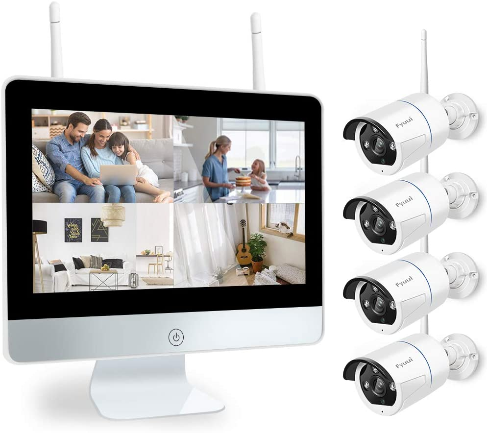 【Two-Way Audio】 Wireless Security Camera System with 12 inch IPS Monitor, Fyuui 1080P 8CH NVR Surveillance Camera System, 4pcs 1080P 2.0MP Indoor Outdoor WiFi IP Camera, Remote View,H.265+ NVR