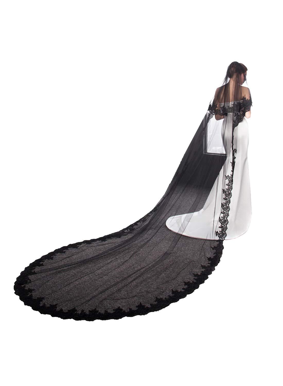 EllieHouse Women's Lace Black Wedding Bridal Veil With Comb L30 by EllieHouse