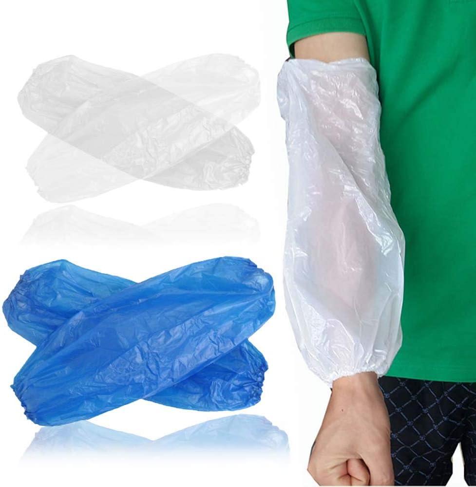 MZY1188 Mangas plásticas Desechables del Brazo 100pcs, protección para el Cuerpo Guantes Largos Guantes elásticos antiincrustantes para la Limpieza del hogar
