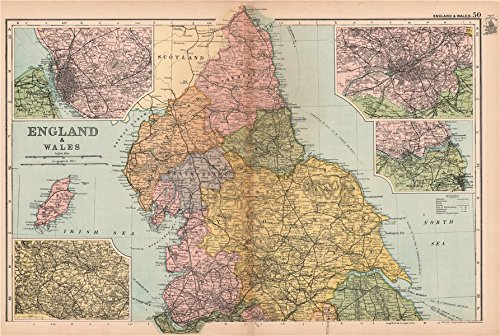 NORTHERN ENGLAND Liverpool Bradford Manchester Newcastle environs. BACON - 1904 - old map - antique map - vintage map - Great Britain maps