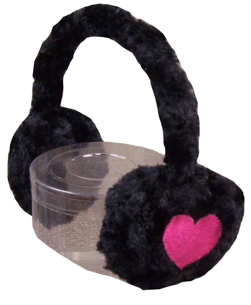 N'Ice Caps Girls Soft Velboa Faux Fur Ear Muffs with Heart Embroidery 651-BF