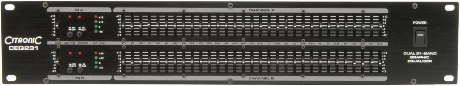QTX EQ231 Ecualizador gr/áfico de 31 bandas y 2 canales