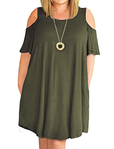 7ad39cce32c Image Unavailable. Image not available for. Color  CPOKRTWSO Women s Cold  Shoulder Plus Size Casual T-Shirt Swing Mini Dress with Pockets Army