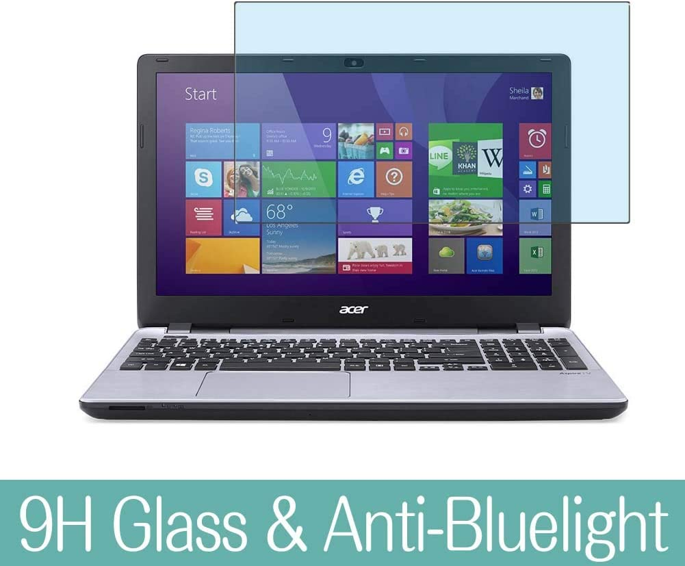 """Synvy Anti Blue Light Tempered Glass Screen Protector Compatible with Acer Aspire V3-572P / V3-572G / V3-572 15.6"""" Visible Area 9H Protective Screen Film Protectors (Not Full Coverage)"""