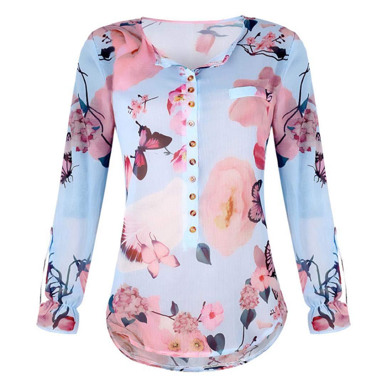 ... Floral Casual para Mujer Blusa con Tapa Dobladillo Mujer Camisas Estampada de Manga Larga de chifón con Botones en el Cuello Blouse: Amazon.es: Ropa ...