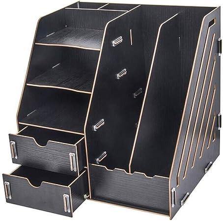 Carpeta de madera Caja de almacenamiento de revista de documentos, acabado de escritorio con cajón Soporte for archivos Máquina clasificadora de libros Caja de almacenamiento de múltiples compartiment: Amazon.es: Hogar