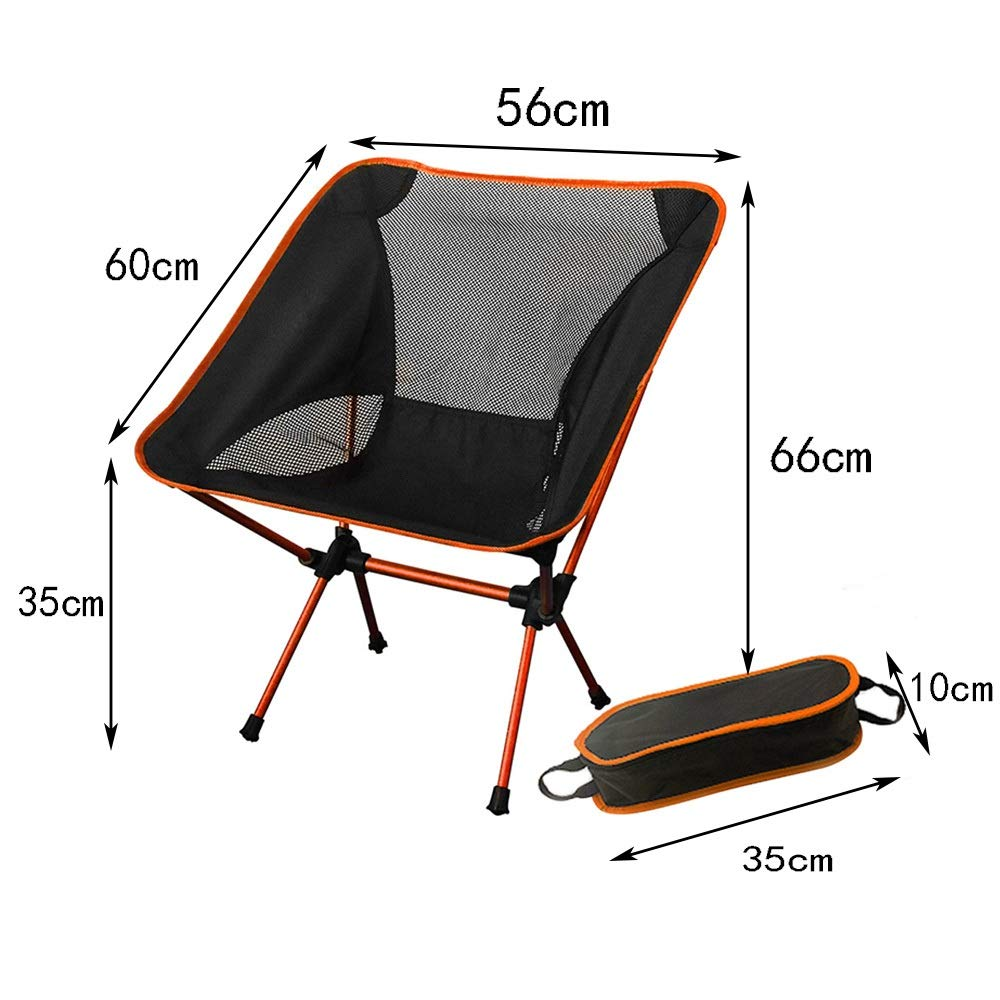 Folding Footstool Portable Outdoor Folding Fishing Chair Light Aluminum Folding Stool (Color : Orange, Size : 5666cm)