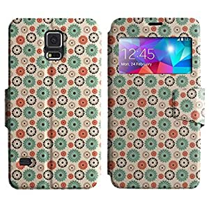AADes Scratchproof PU Leather Flip Stand Case Samsung Galaxy S5 V SM-G900 ( Assorted Flowers )
