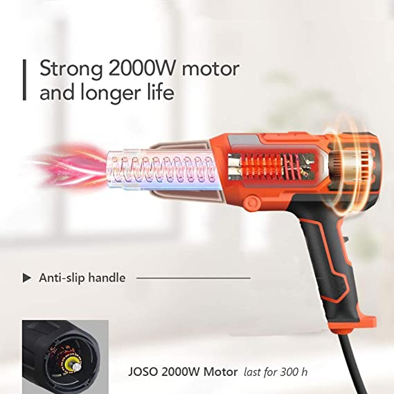 High Power Hot Air Gun 662℉-1022℉ No Smoke Issue Ergonomic Body Design Fast Heating In Seconds 350℃-550℃ 2000W Dual Temperature Heat Gun 4 Nozzle Attachments