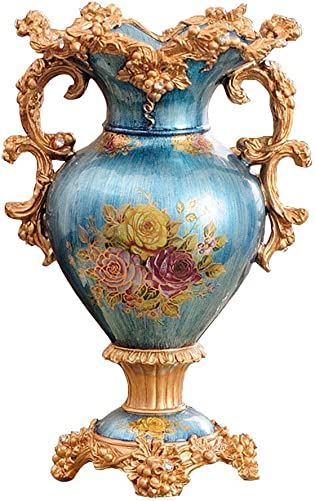 ZR-DECOR European-Style Retro Resin Large Flower Vases for Living Dining Room Table Centerpiece Bedroom Office Hotel Home Decoration Hand-Painted Tall Decorative Vase, Blue 31cm 46cm
