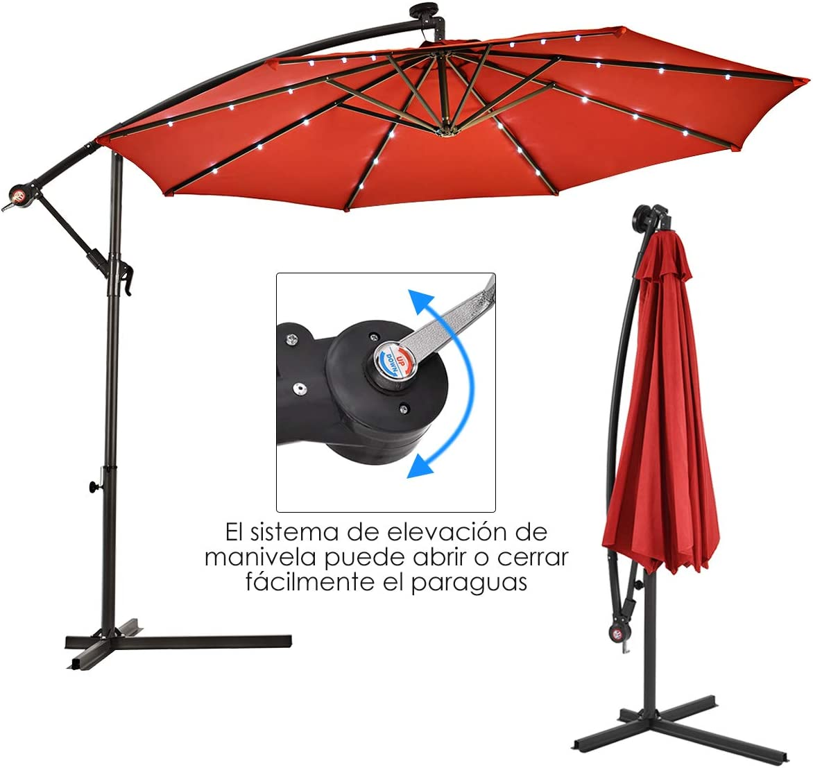 COSTWAY Sombrilla con LED Luces de Jard/ín de /Ø300cm Sombrilla Inclinable Parasol para Terraza Playa Piscina Patio Sin Base Beige