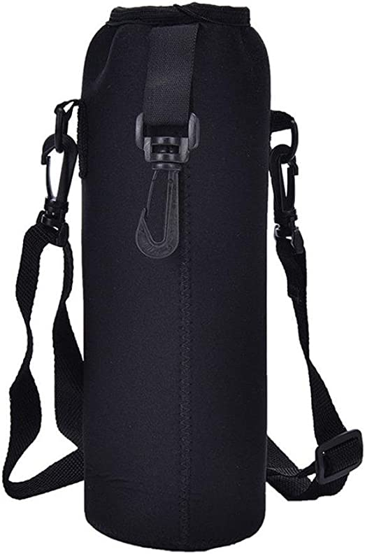 Water Bottle Carrier Insulated Cover Bag Holder Strap Pouch Outdoor Black