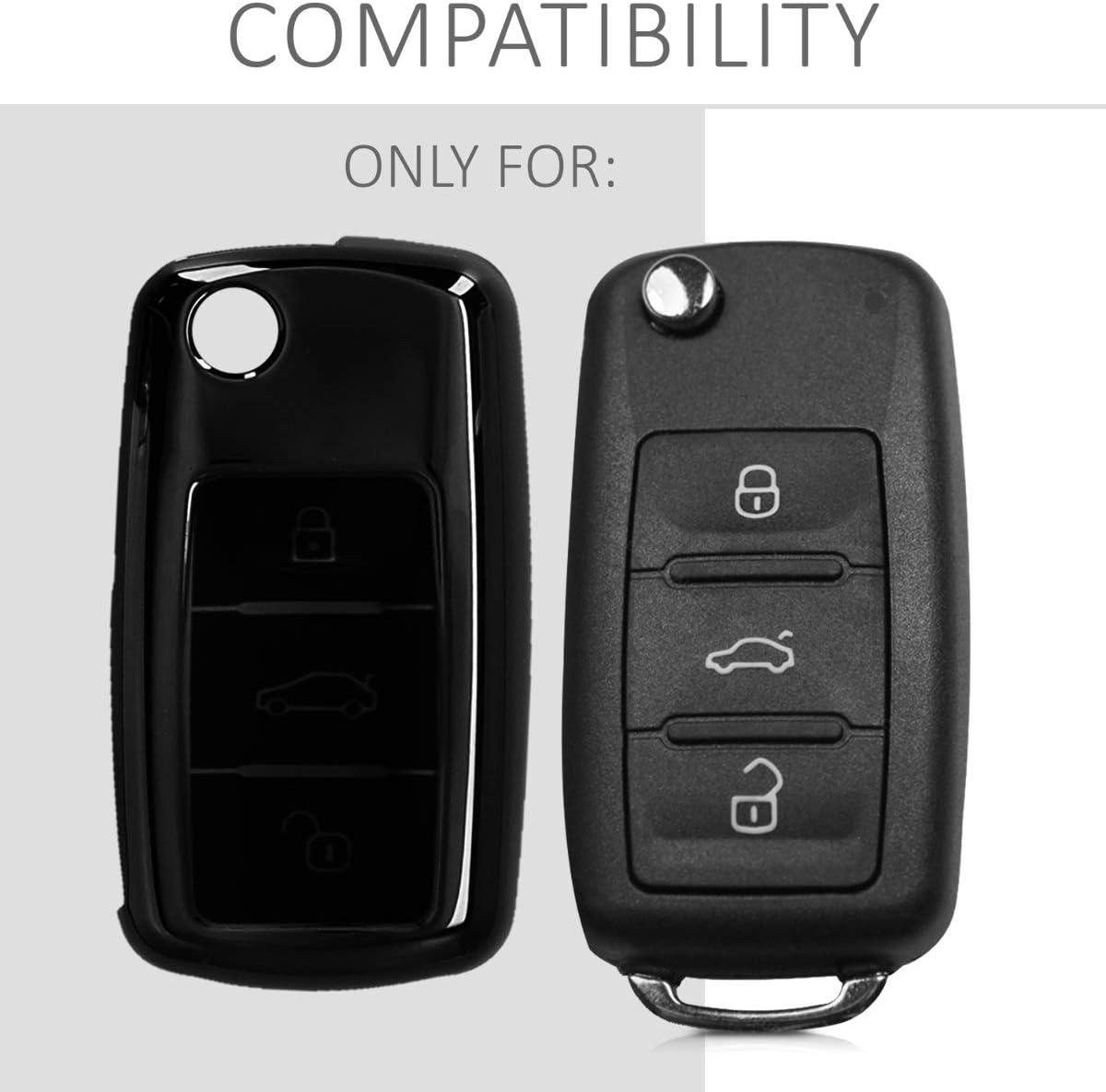 Coque en Silicone pour Clef de Voiture VW Skoda Seat 3-Bouton kwmobile Accessoire Clef de Voiture pour VW Skoda Seat Housse de Protection dor/é Haute Brillance