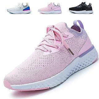 AoSiFu Women's Lightweight Walking Shoes Breathable Sneakers Mesh Tennis Shoes for Women A-Pink39