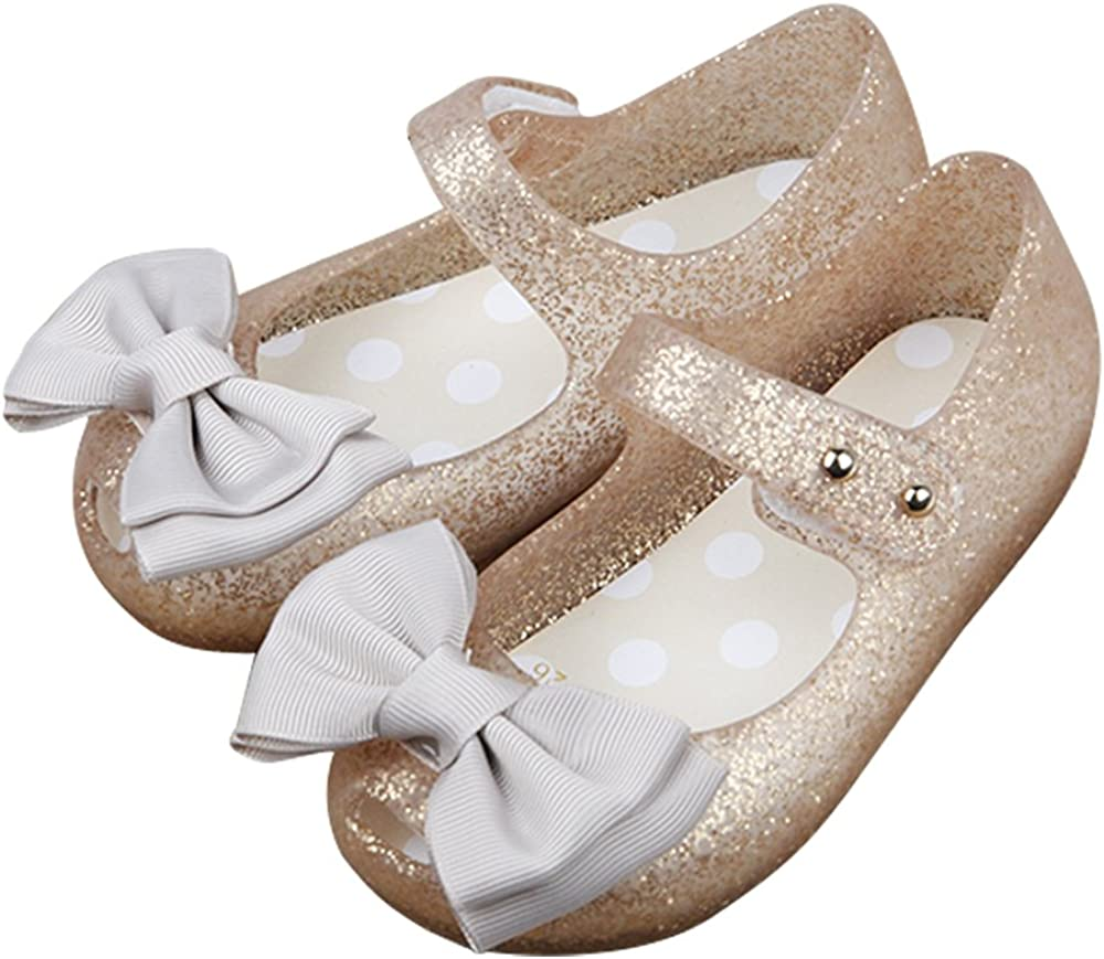 iFANS Girls Princess Mary Jane Cloth Bow Jelly Shoes Flats(Toddler Little Kids)