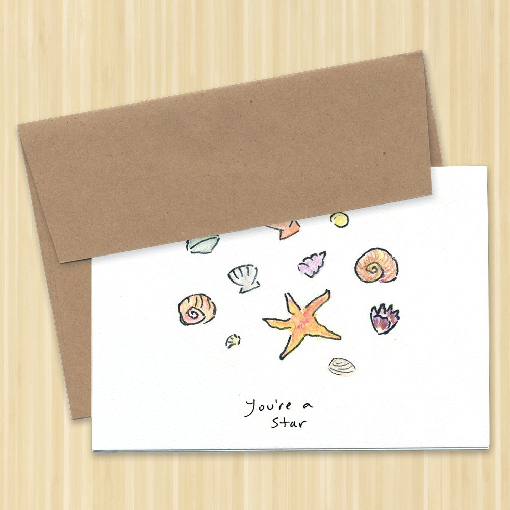 4-Pack Youre a Star Greeting Card Sea Shells /& Starfish