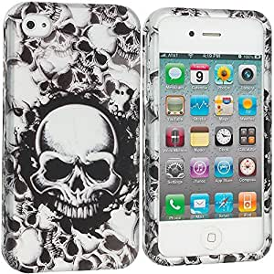 Accessory Planet(TM) Black White Skulls 2D Hard Snap-On Design Rubberized Case Cover Accessory for Apple iPhone 4 / 4S by lolosakes