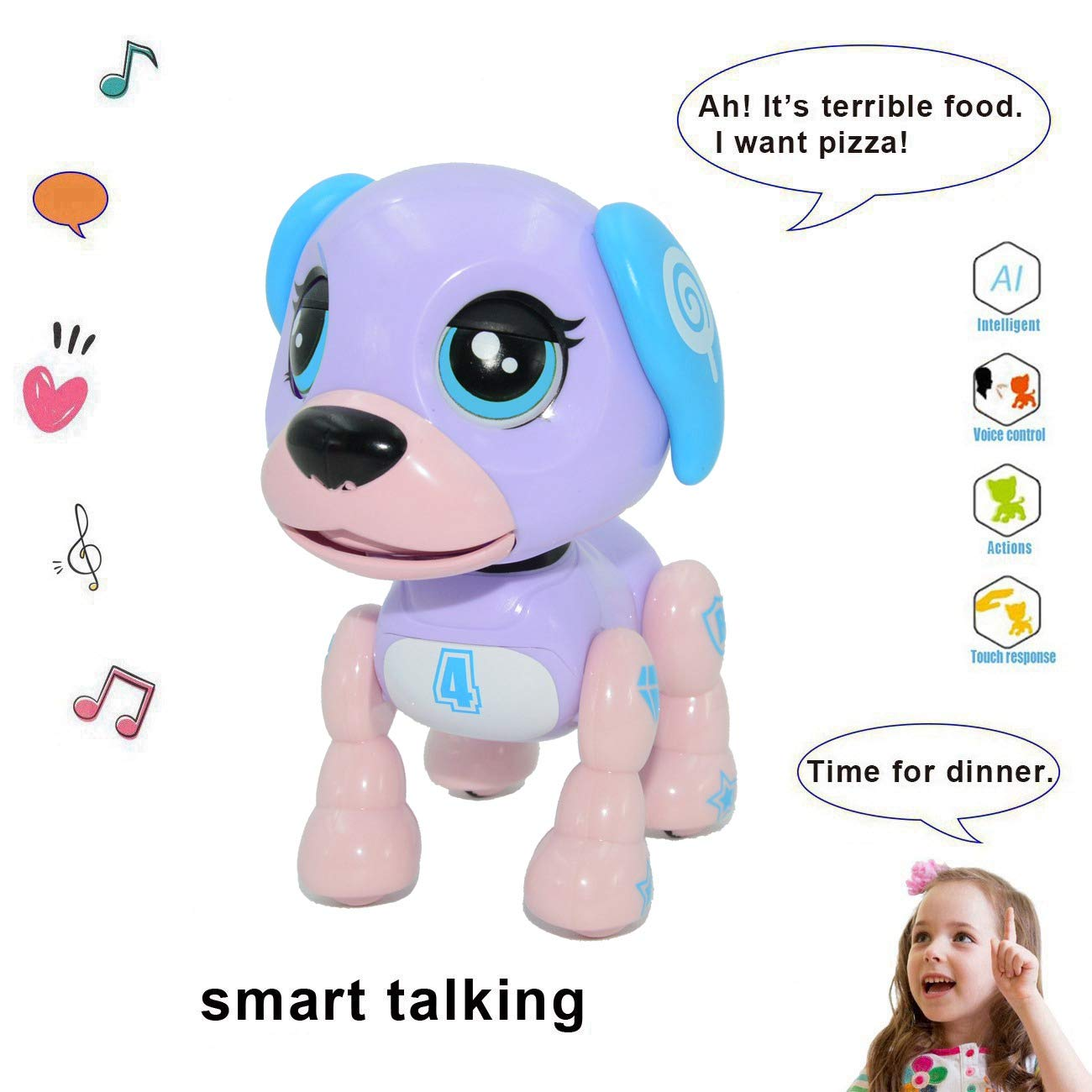 amdohai Interactive Puppy - Electronic Pet Toy, Smart Robot Dog for Age 3 4 5 6 7 8 Year-Old Children, Gifts Idea for Kids ● Voice Control&Intelligent Talking (Purple)