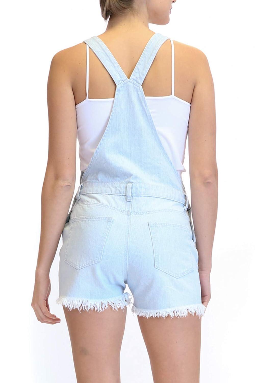 TwiinSisters Womens 100/% Cotton Denim Cute Boyfriend Fit Destroyed Shorts Overall