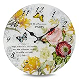 Whole House Worlds The Paris Butterfly Art Clock,Glass, Antique Garden Cafe Style, Over 1 Ft In Diameter, Analog Timepiece, Battery Powered, (1 AA Required) By