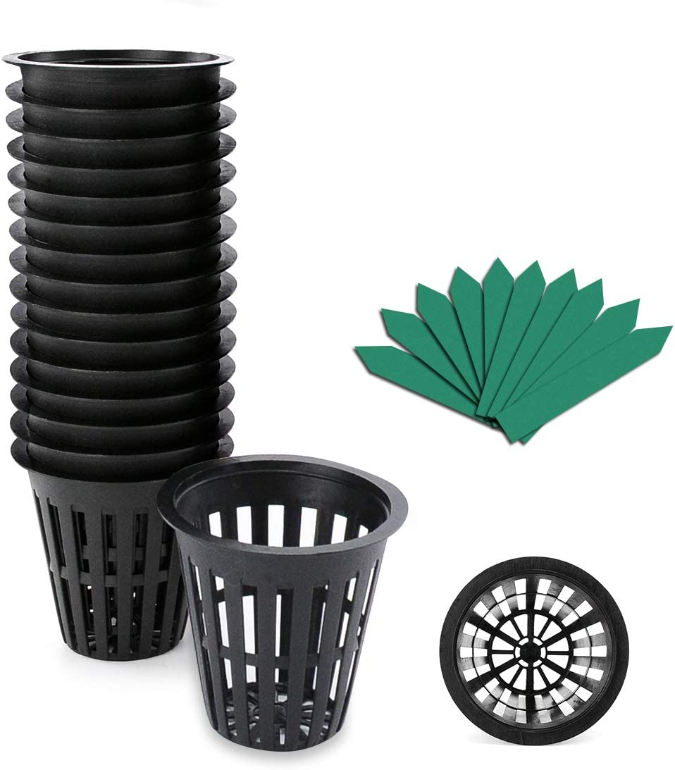 GROWNEER 50-Pack 2 Inch Garden Slotted Mesh Net Cups, Heavy Duty Net Pots with 50 Pcs Plant Labels, Wide Lip Bucket Basket for Hydroponics