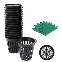 2 Inch Garden Slotted Mesh Net Cups, Heavy Duty Net Pots w/ 5Pcs Plant Labels, Wide Lip Bucket Basket for Hydroponics