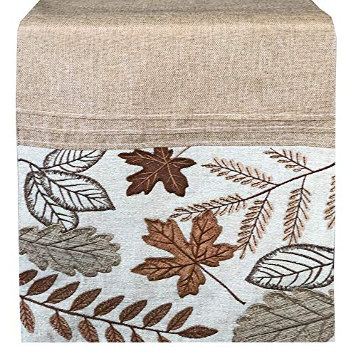 Lintex Fall Copper Leaves Embroidered Thanksgiving and Fall Harvest Fabric Table Runner - Autumn Leaves Embroidered Kitchen and Dining Room Table Runner, 72