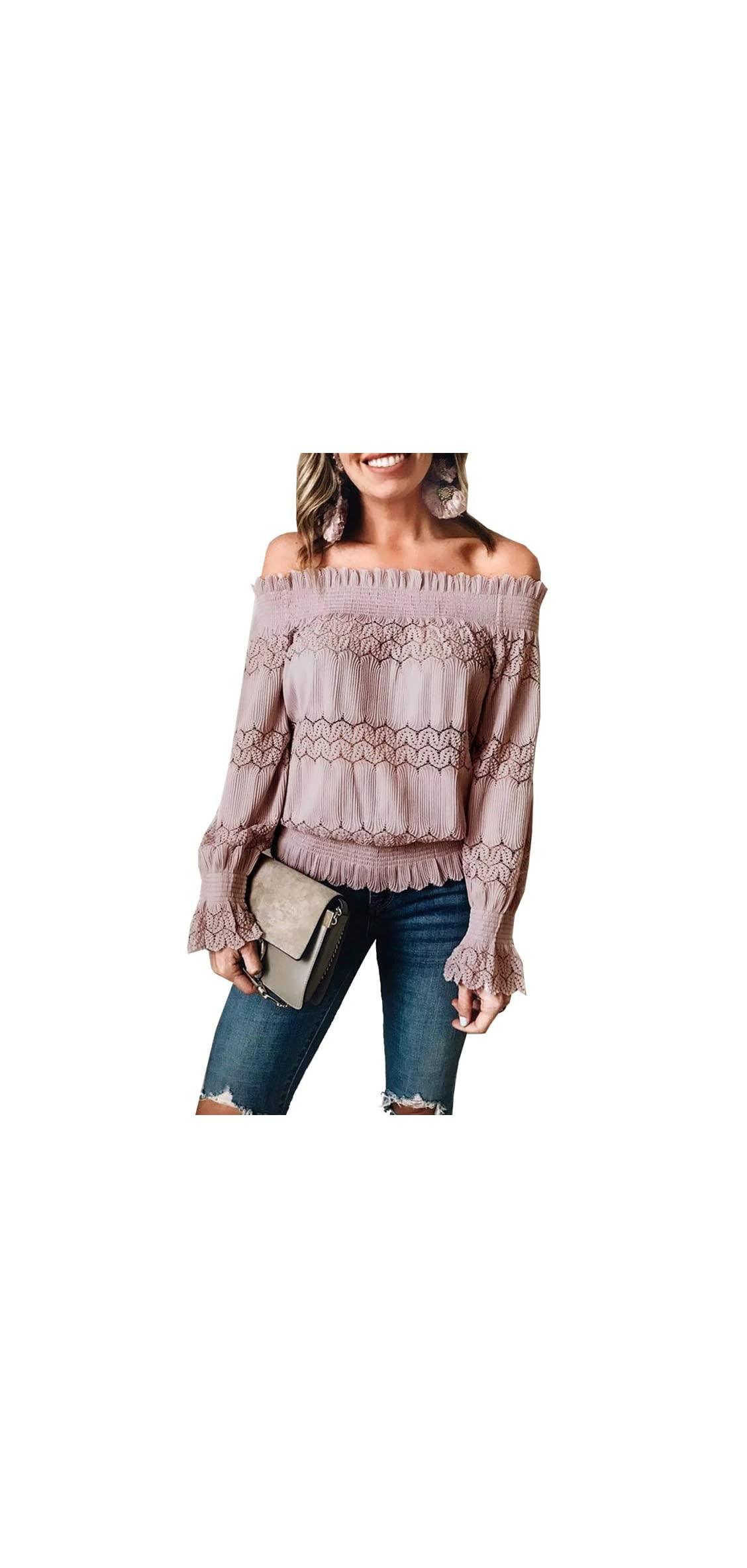 Womens Sexy Stretchy Off Shoulder Ruffle Long Lace