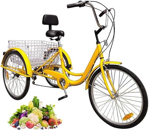 TTFGG Bicicleta Triciclo De 24 Pulgadas Adulto,Bicicleta De 3 Ruedas,con Gran Cesta del Respaldo del Asiento,Adecuado para Adolescentes,Señoras, Hombres,Compras,Compras,Deportes,Ocio,Amarillo: Amazon.es: Hogar