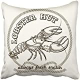 Gemao Pillow Covers Print Vintage Seafood Restaurant Retro Emblem Dinner Fresh Lobster Food Sea Animal Beautiful Claw Polyester Zippered 18x18 Square Pillow Case Home Bed Couch Sofa