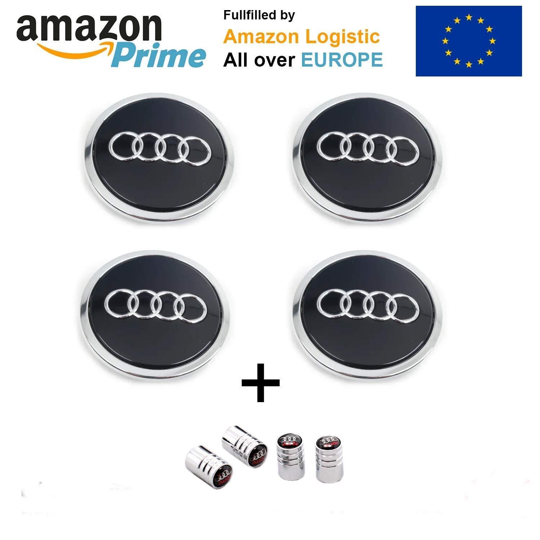 f/ür A1,/A3,/A4,/A5,/A6,/Q5 Forten Car 4 Nabenkappen mit Audi-Logo Logokappe f/ür/Alufelgen
