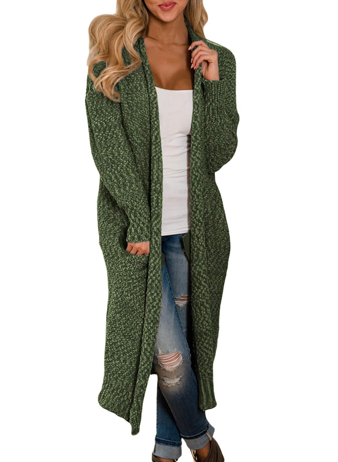 HOTAPEI Womens Cardigans Fall Winter Pockets Cable Knit Long Sleeve Loose Oversized Open Front Long Cardigan Sweaters for Juniors Sweater Coats Olive Green XL