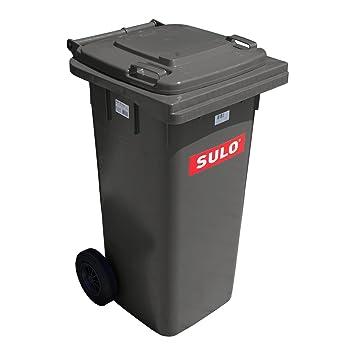 Cubo de basura 2 ruedas, contenedor a basura SULO 120 L, gris (22068): Amazon.es: Hogar