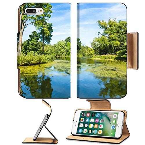 Liili Premium Apple iPhone 7 Plus Flip Pu Leather Wallet Case Lush Green Woodland Park Reflecting in Tranquil Pond Sunshine iPhone7 Plus Image ID - Drive Lake Woodlands