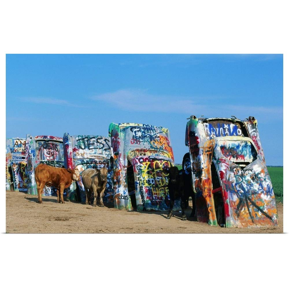 """GREATBIGCANVAS Poster Print Entitled Cattle at Cadillac Ranch, Texas by 18""""x12"""""""