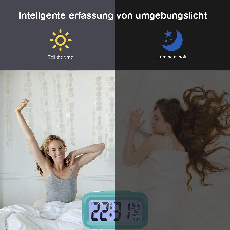 Datum Temperatur Anzeige 5 Minuten Snooze Zuhause LED Kinderwecker Wecker Digital mit Lichtsensor Smart Digitaler Wecker kinder Digitale Wecker Batterie betriebe f/ür Schlafzimmer