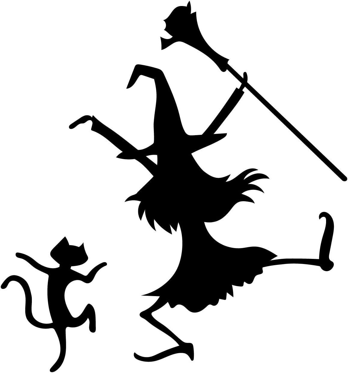 """Vinyl Wall Art Decal - Dancing Witch and Cat - 24.5"""" x 23"""" - Fun Halloween Theme Seasonal Decoration Sticker - Indoor Outdoor Wall Door Window Living Room Office Decor"""