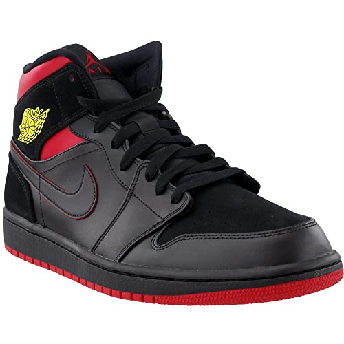 check out 6d387 f801f Jordan 554724-076: Air 1 Mid Basketball Shoe Black Tour Yellow Gym Red  Sneakers (10 D(M) US Men)