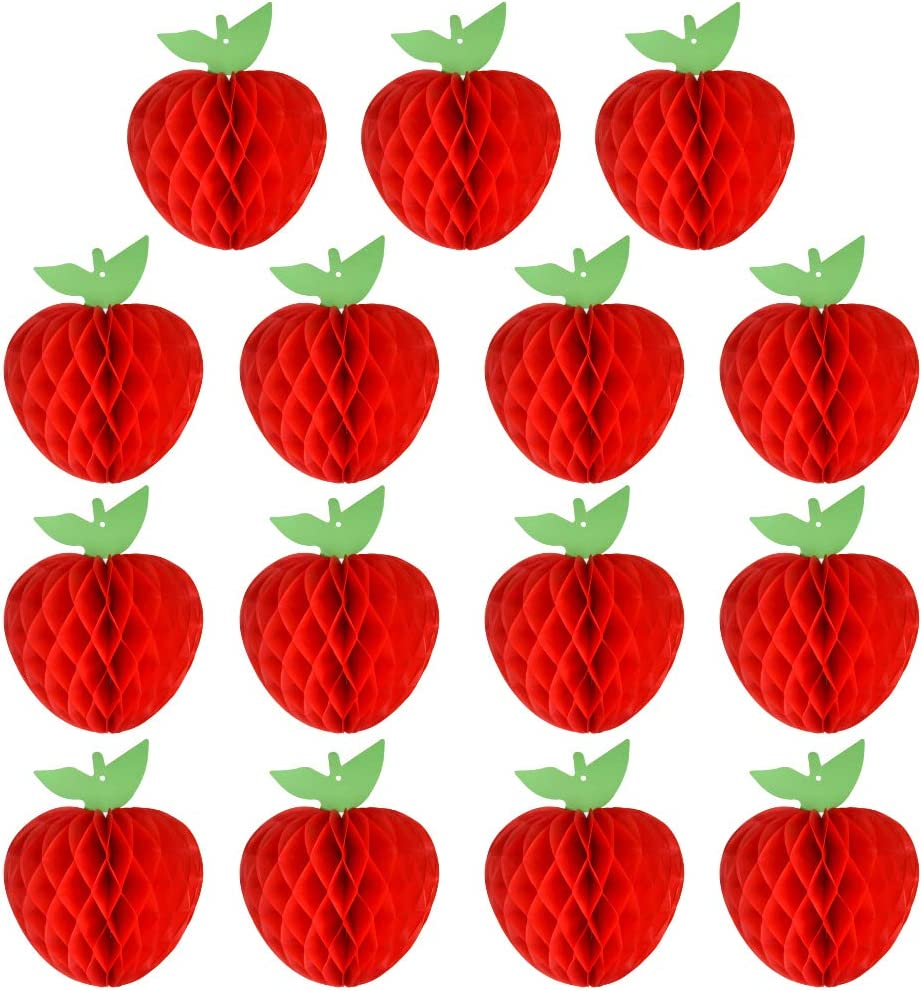 FEPITO 15 Pack 7 Inch Apple Tissue Honeycomb Hanging Red Paper Apple Decorations Fruit Decoration for Back to School, Baby Shower