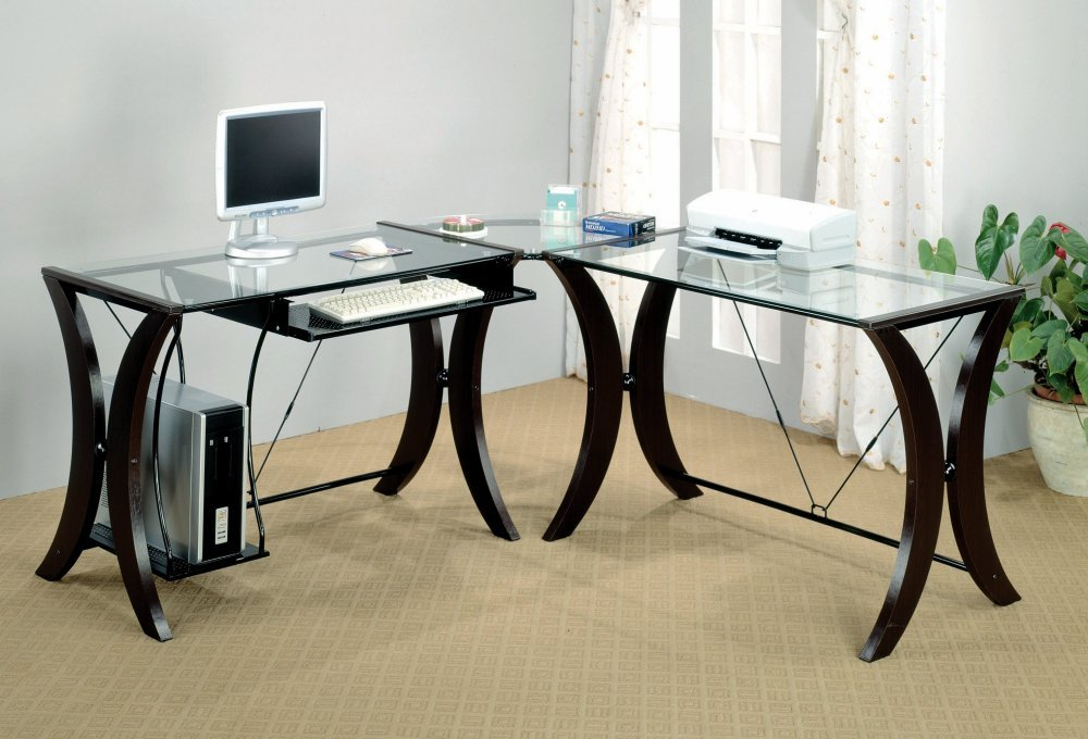 amazoncom coaster l shape home office computer desk cappuccino finish base glass top kitchen dining amazoncom coaster shape home office